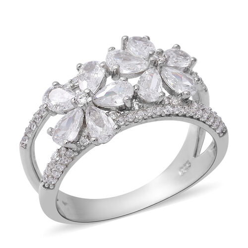 ELANZA Simulated Diamond Floral Ring in Rhodium Plated Sterling Silver