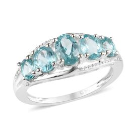 Paraiba Apatite (Ovl) Five Stone Ring (Size L) in Sterling Silver 1.50 Ct.