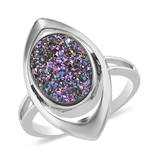 Sajen Silver ILLUMINATION Collection - Sajen Silver Drusy Agate Ring in Platinum Overlay Sterling Si