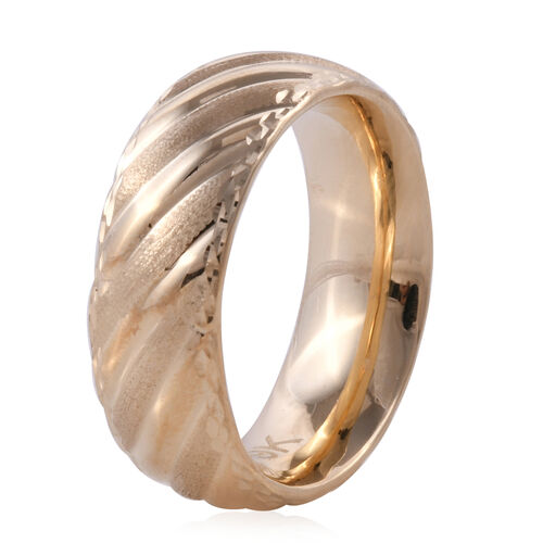 Designer Inspired- Premium Collection Handmade 9K Yellow Gold Textured and High Polish Band Ring, Gold Wt. 2.55 gms
