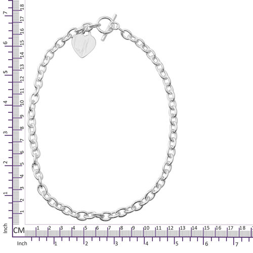 Sterling Silver Oval Belcher Necklace (Size 18mm) with Heart Charm and T Lock, Silver wt 55.20 Gms.