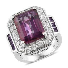 11.75 Ct Lulaby Mystic Topaz and Multi Gemstone Halo Ring in Platinum Plated Silver 6.90 Grams