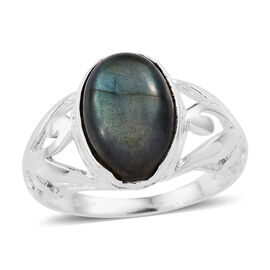 One Time Deal- Pauls Island Labradorite (Oval) Ring (Size M) in Sterling Silver 7.430 Ct.