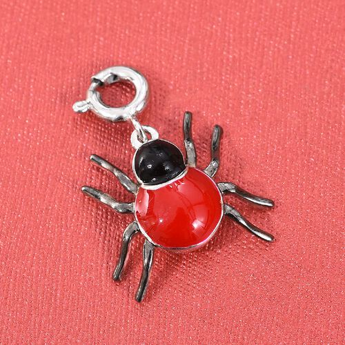 Platinum Overlay Sterling Silver Enamelled Ladybug Charm