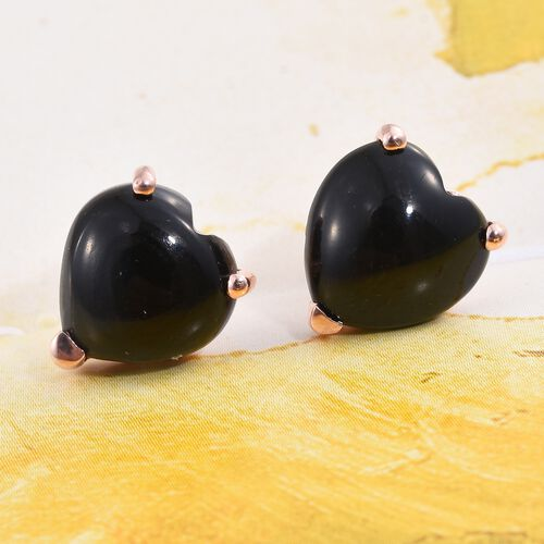 Black Onyx (Hrt) Stud Earrings (with Push Back) in Rose Gold Overlay Sterling Silver 6.500 Ct.