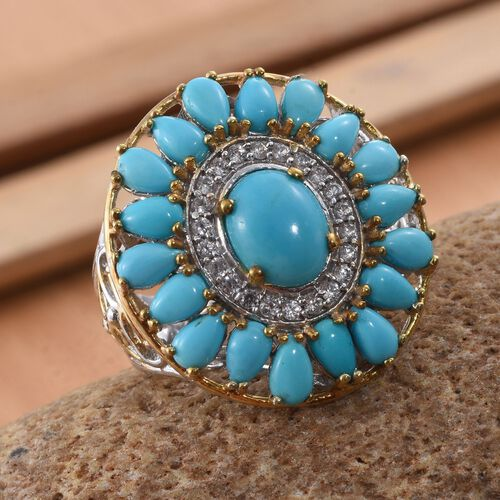 Arizona Sleeping Beauty Turquoise (Ovl 1.50 Ct), Natural Cambodian Zircon Ring in Platinum and Yellow Gold Overlay Sterling Silver 5.750 Ct.