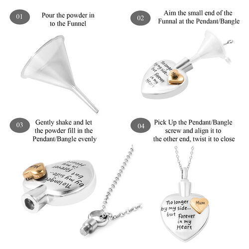 2 Piece Set - Engraved Memorial Mum Heart Pendant with Chain (Size 20) and Funnel with Needle in Dual Tone