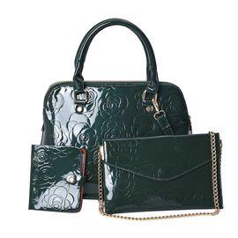 3 Piece Set - Rose Floral Embossed Tote Bag, Clutch and Card Bag with Detachable Shoulder Strap - Gr