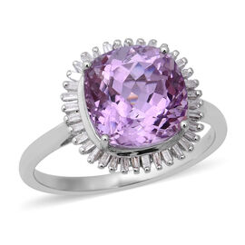 5.30 Ct Kunzite and Natural Diamond Halo Ring in 9K White Gold