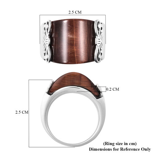 Red Tiger Eye Band Ring in Stainless Steel 25.00 Ct