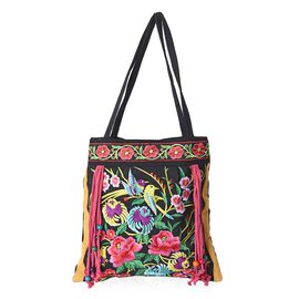 Embroidered Floral and Bird Pattern Tassel Tote Bag with Zipper Closure (Size 43x43 Cm) - Multi