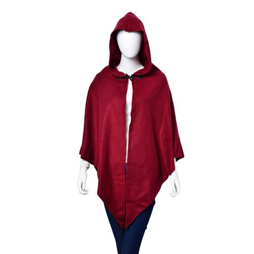 Winter Special-Italian Designer Inspired - Burgundy Colour Poncho with Cap (Free Size)