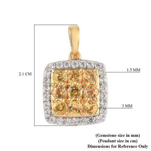 Yellow Sapphire and Natural Cambodian Zircon Cluster Pendant in 14K Gold Overlay Sterling Silver 1.55 Ct.