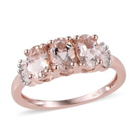 Marropino Morganite (Ovl), Diamond Ring in Rose Gold Overlay Sterling Silver 1.25 Ct.