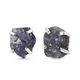 Tanzanite Stud Earrings (with Push Back) in Platinum Overlay Sterling Silver 11.00 Ct.