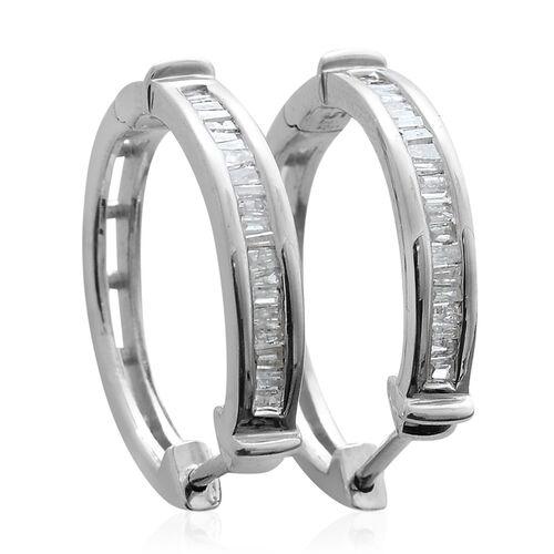 Diamond (Bgt) Hoop Earrings (with Clasp Lock) in Platinum Overlay Sterling Silver 0.330 Ct.