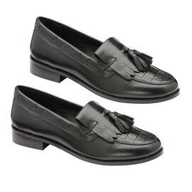 Ravel Black Croc Tilden Leather Low Heel Loafers