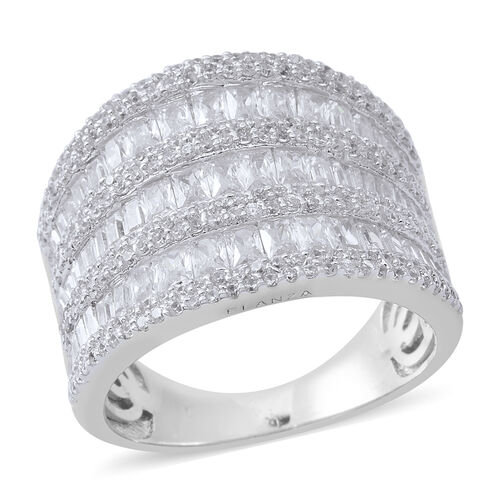 ELANZA Simulated White Diamond (Bgt and Rnd) Ring in Rhodium Plated Sterling Silver, Silver wt 8.20 Gms. Number of Simulated White Diamond 295