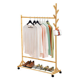 Horizontal Bar Pattern Eye Pleasing Natural Bamboo Clothes Rack with 4 Scroll Wheels (Size:100x152Cm