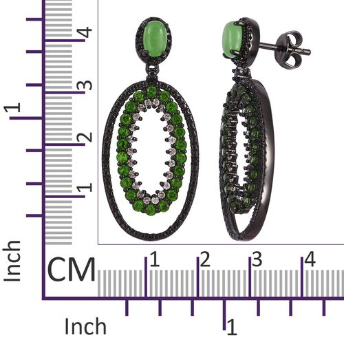 Green Jade, Russian Diopside, Boi Ploi Black Spinel and Natural Cambodian Zircon Earrings (with Push Back) in Black Rhodium Plated Sterling Silver 4.010 Ct