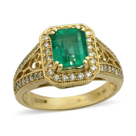ILIANA 2.68 Ct AAA Boyaca Colombian Emerald and Diamond Halo Ring in 18K Gold 5.30 Grams SI GH