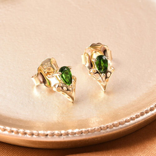 RACHEL GALLEY Chevrolet Collection - Russian Diopside Stud Earrings (with Push Back) in Yellow Gold Overlay Sterling Silver