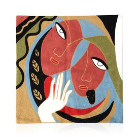 Limited Edition - Pablo Picasso Full Embroidery Cushion Cover (43x43 cm) Terracotta tones