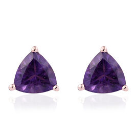 Amethyst (Tri) Stud Earrings (with Push Back) in Rose Gold Overlay Sterling Silver 1.250 Ct.