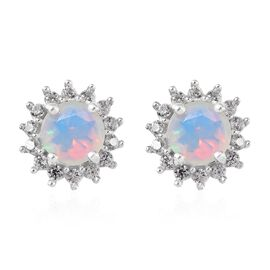 Ethiopian Welo Opal (Rnd), Natural Cambodian Zircon Earrings (with Push Back) in Platinum Overlay St