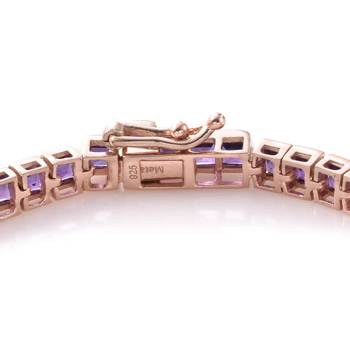 Limited Edition- PRINCESS CUT Amethyst (Sqr) Bracelet (Size 7.5) in Rose Gold Overlay Sterling Silver 9.000 Ct, Silver wt: 8.81