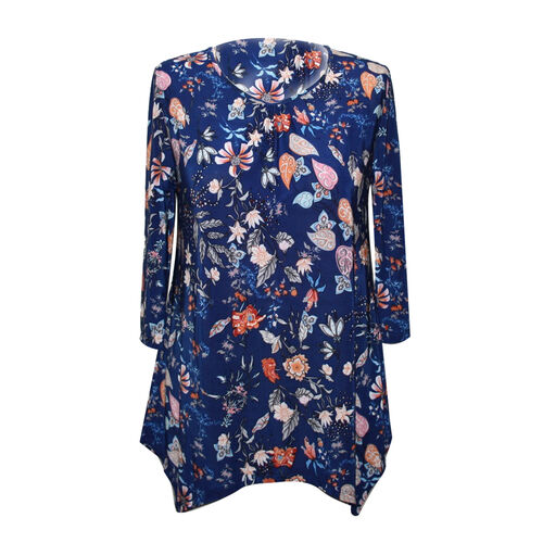 DOD - Ladies Super Soft Longline Navy and Multi Colour Printed Top (Size L)