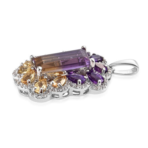 AA  Anahi Ametrine (Bgt), Amethyst, Citrine and Natural White Cambodian Zircon Pendant in Platinum Overlay Sterling Silver 7.000 Ct