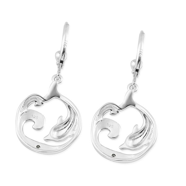 Blue Diamond Dolphin Lever Back Earrings in Platinum and Blue Overlay Sterling Silver 0.020 Ct.