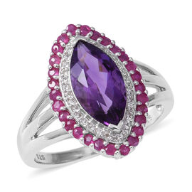 Amethyst (Mrq 14x7 mm), White Topaz and Burmese Ruby Ring in Rhodium Overlay Sterling Silver 3.710 C