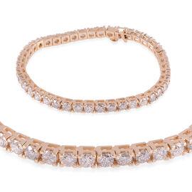 14K Yellow Gold SGL Certified Diamond (Rnd) (I1/I2/G-H)  Bracelet (Size 7.5) 10.750 Ct, Gold wt 19.8