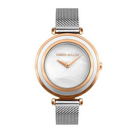 Karen Millen Mother Of Pearl Analogue Silver and Rose Gold Tone Mesh Bracelet Watch