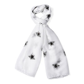 White Colour Bee Pattern Scarf (Size 180x70 Cm)