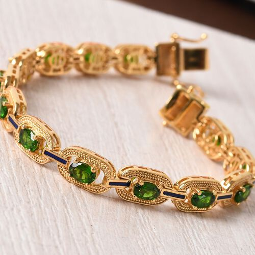 Russian Diopside Enamelled Bracelet (Size 8) in 14K Gold Overlay Sterling Silver 6.25 Ct, Silver wt 17.00 Gms