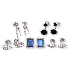Set of 5 -  White and Black Austrian Crystal, Simulated Diamond, Simulated Blue Topaz Enamelled Earr