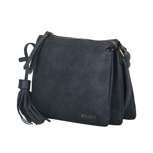 Bulaggi Collection - Gerbera Crossbody Bag with Adjustable Shoulder Strap and Detachable Tassel (Size 23x18x8cm) - Black