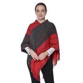 Stripe Pattern Poncho in Red and Dark Grey (54x70cm)