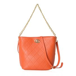 100% Genuine Leather Orange Colour Shoulder Bag with Removable Shoulder Strap (Size 27x20.5x25x13 Cm