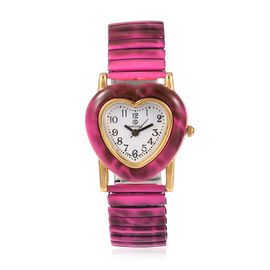 STRADA Japanese Movement Water Resistant Heart Bracelet Watch (Size 6.25 - 6.75 Inch) Colour Fuschia
