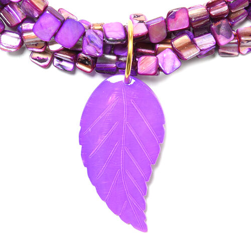 Leaf Carved Purple Shell Necklace (Size 32 with 3 inch Extender) in Yellow Gold Tone
