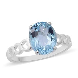 Sky Blue Topaz (Ovl 11x9mm) Solitaire Ring in Sterling Silver 4.41 Ct.