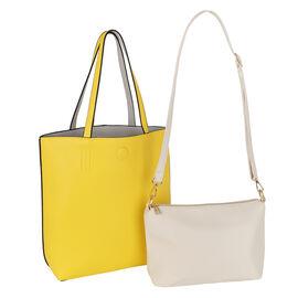 2 Piece Set - Kris Ana Reversible Tote Bag & Wash Bag - Yellow and Grey