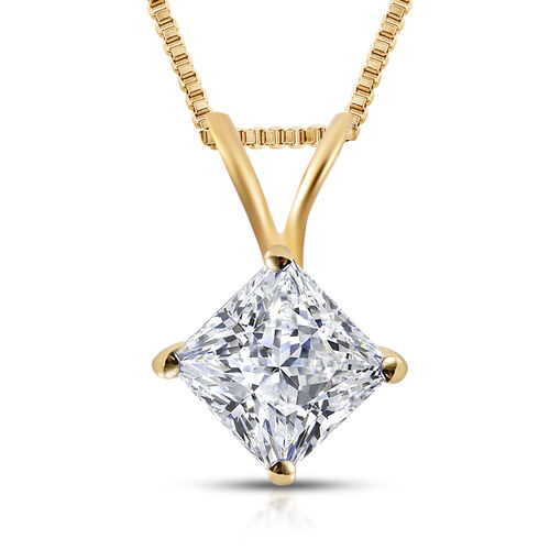 ILIANA 18K Yellow Gold IGI Certified (SI2/H) Diamond (Princess Cut) Pendant with Chain 0.500 Ct.