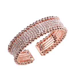 White Austrian Crystal Cuff Flexible Bangle  in Rose Gold Tone