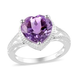 Rose De France Amethyst (Hrt 10 mm) Ring in Sterling Silver 3.000  Ct.