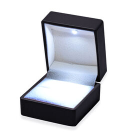 Solid Black Colour Ring Box with LED Light (Size 6.3x6x5 Cm)